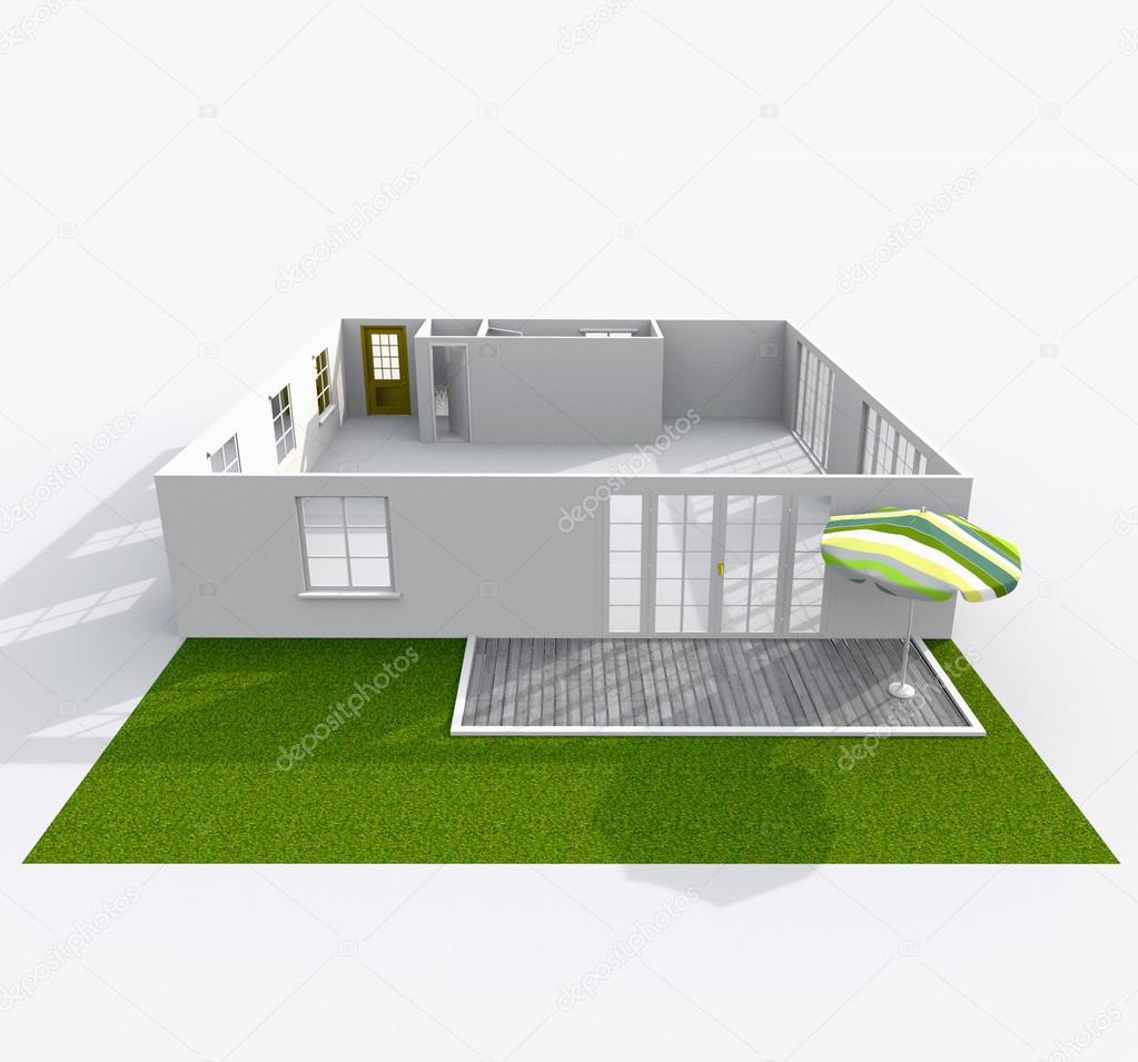 rendu 3D d\'intérieur de papier vide modèle maison appartement avec ...