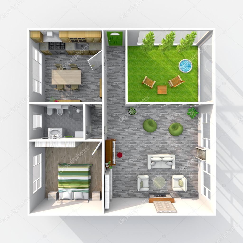 3d interieur rendering bovenaanzicht van ingerichte huis appartement met groene patio - Van plan interieur ...
