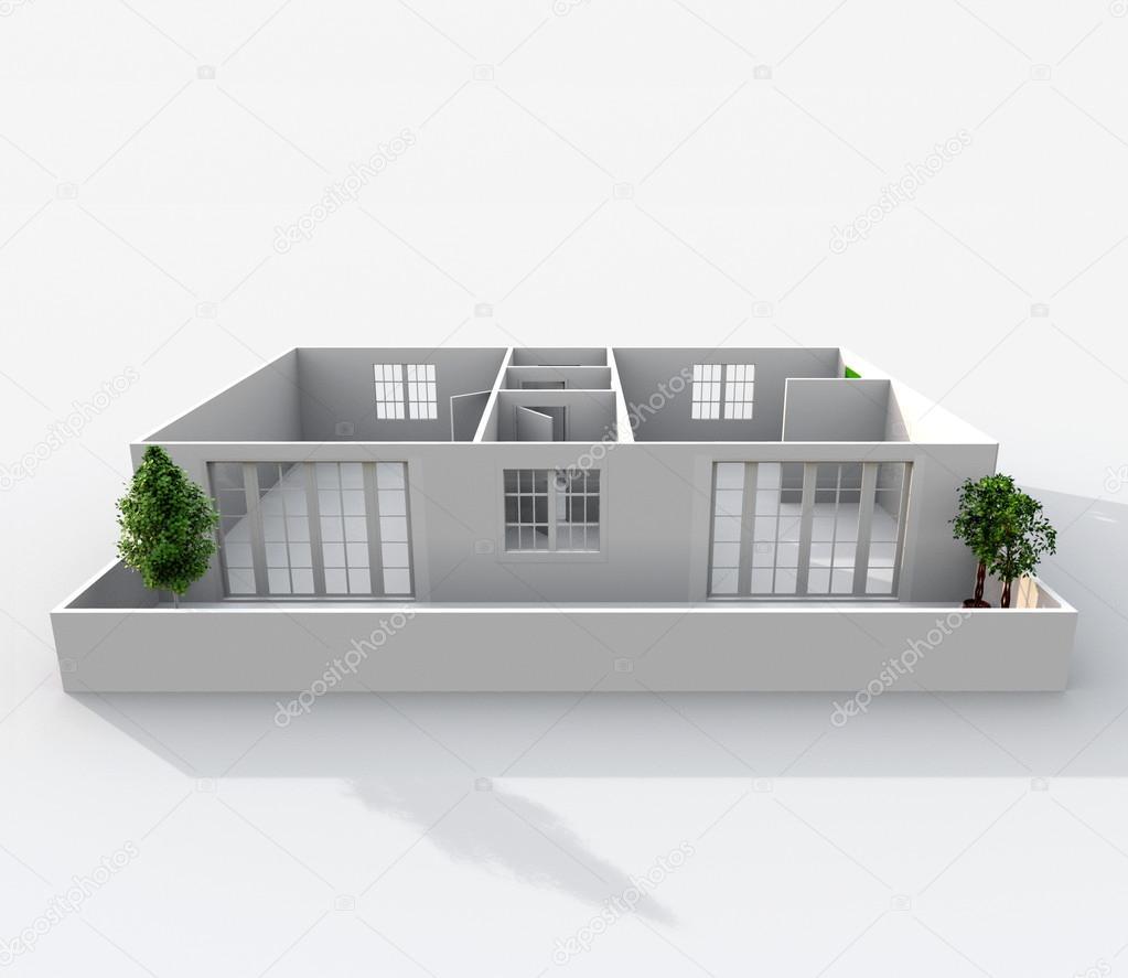 Rendu D Dintérieur De Papier Vide Modèle Maison Appartement Avec - Modele de maison interieur