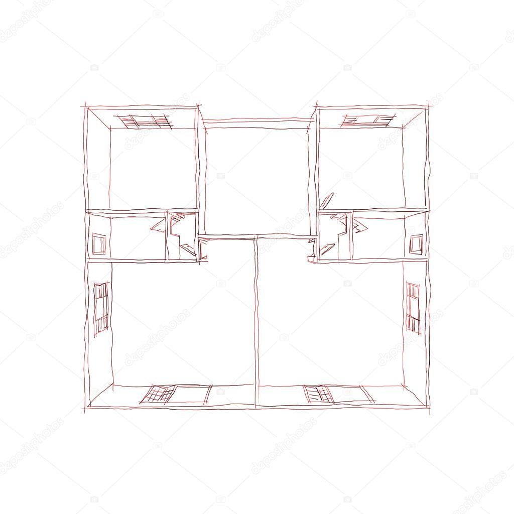 Stylo à main levée croquis dessin illustration de la vue en plan 3d dappartement maison vide