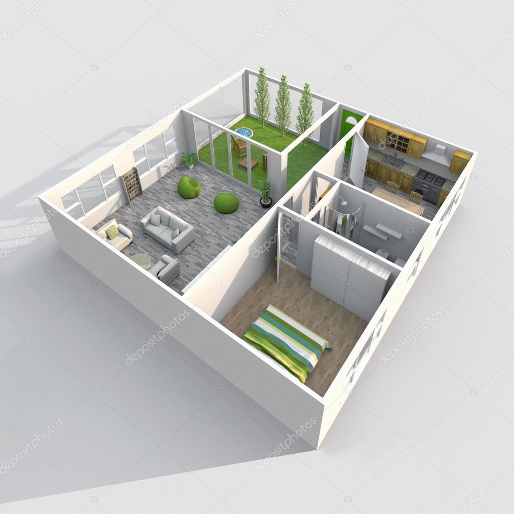 3d interior rendering oblique view of furnished roofless for Piani di casa patio gratuito