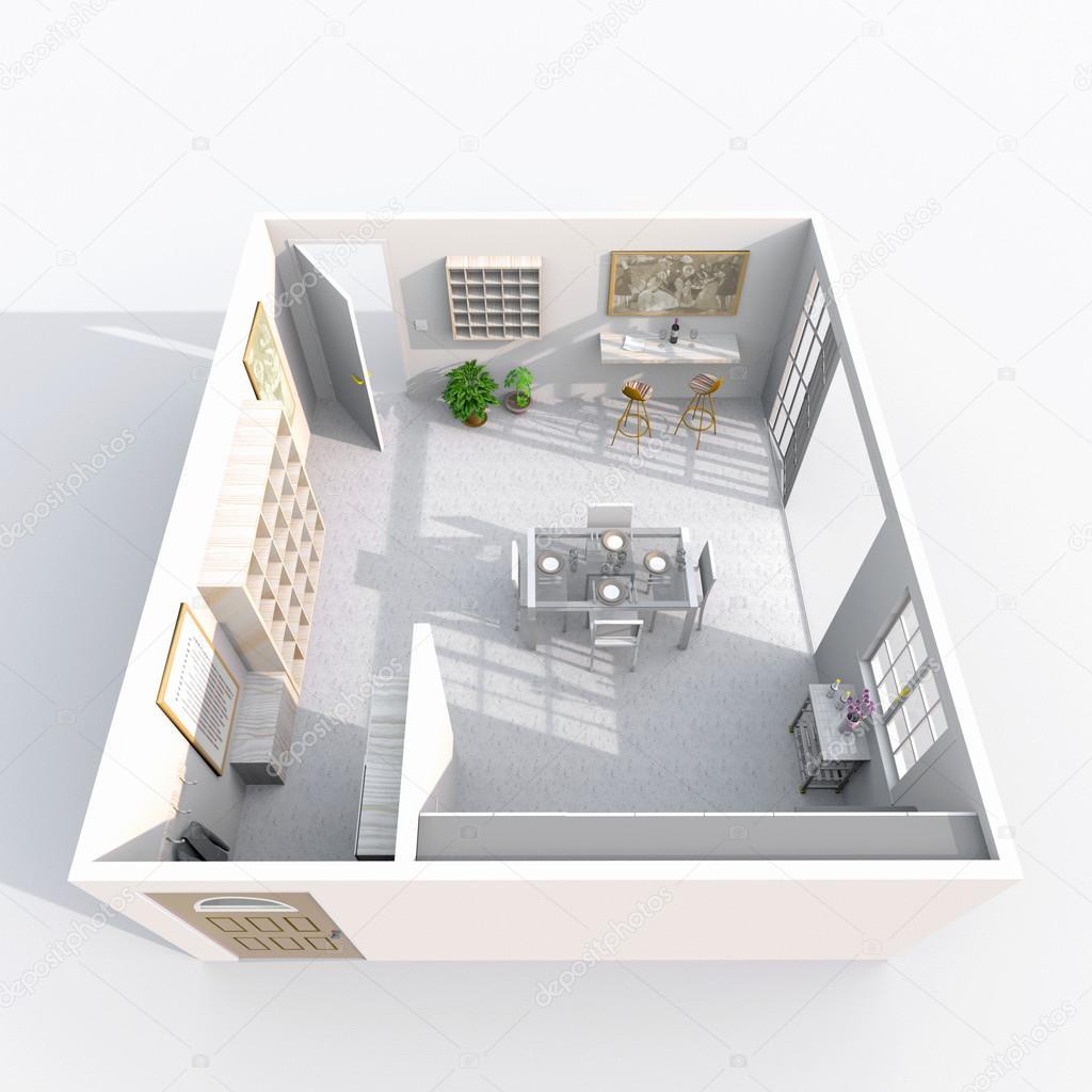inneren 3D-Rendering eingerichtete Küche Zimmer — Stockfoto ...