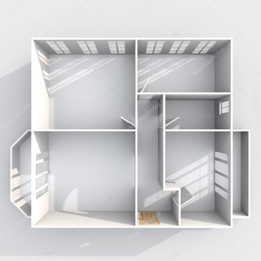 Vue en plan 3d rendu int rieur de vide appartement maison sans toit avec deux balcons - Plan de maison sans toit ...
