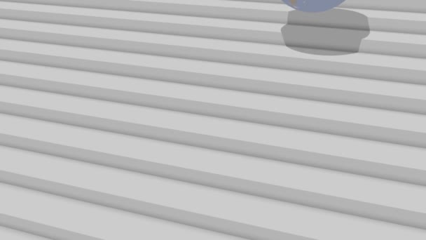 Earth is falling down the stairs 3d animation