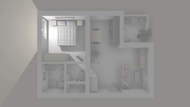 3d animation of Illuminated and furnished apartment