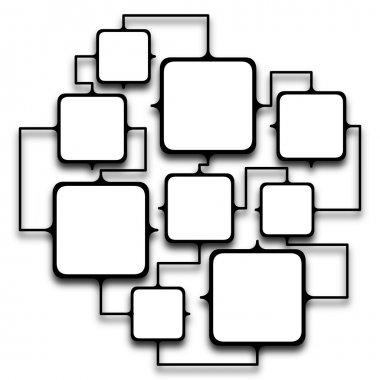 Multiple squared frames linked together