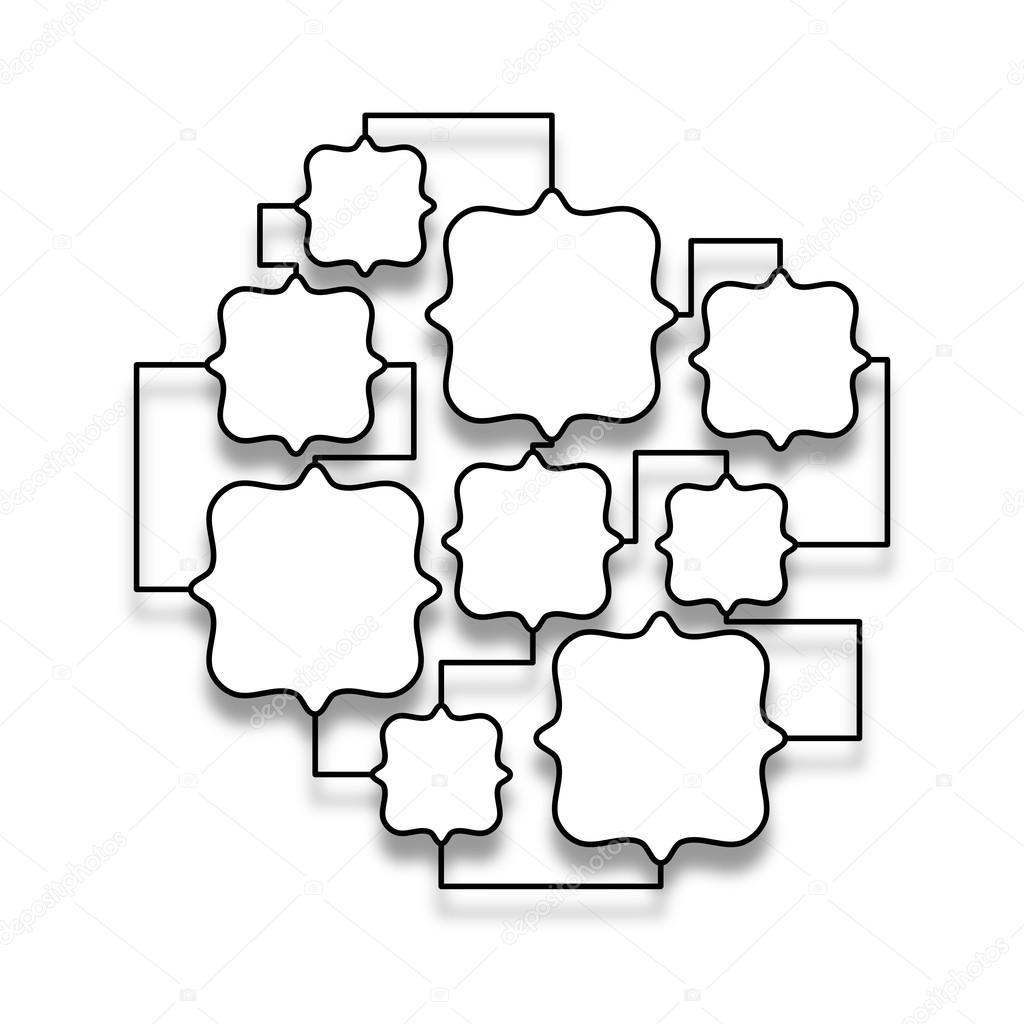 Black empty multiple frames linked together — Stock Photo ...