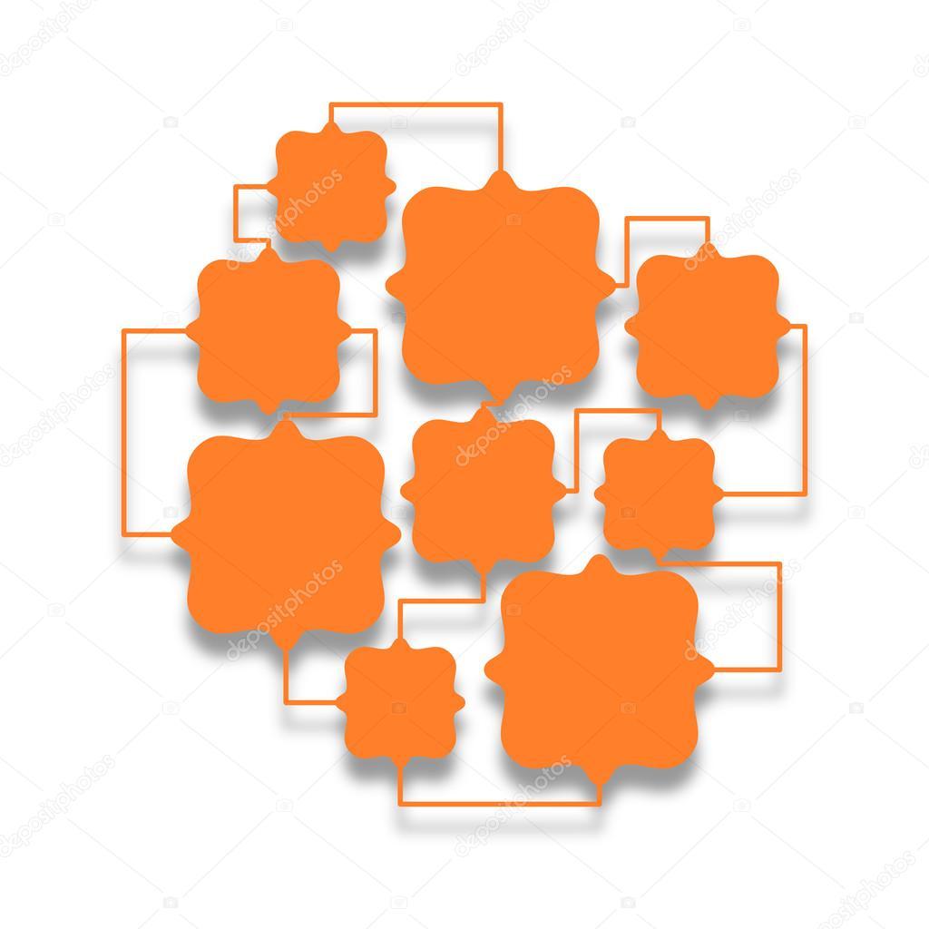 Naranja varios marcos cuadrados Unidos entre sí — Foto de stock ...