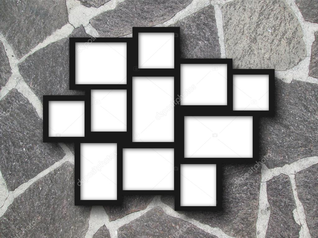 Multiple Black Frames On Stone Pavement Stock Photo