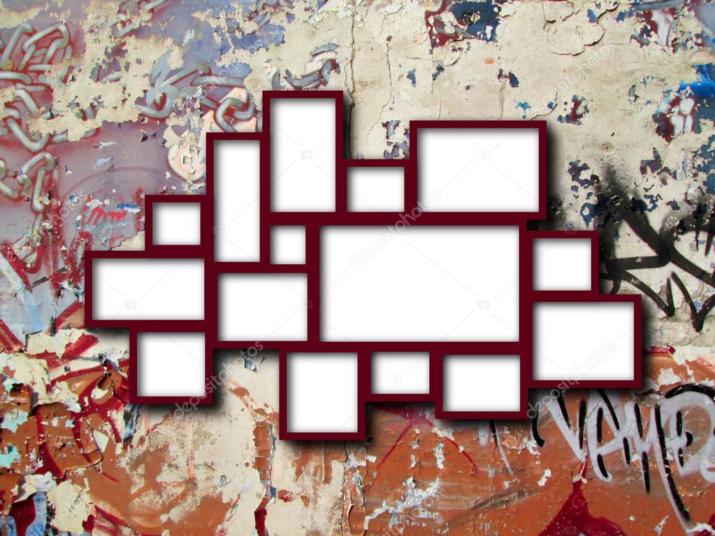 Mehrere rote Rahmen an Graffiti-Wand — Stockfoto ...