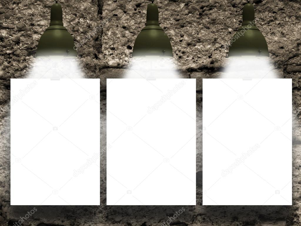 Drei Erhängten Papierbogen Mit Lampen Auf Stein Wand Hintergrundtextur U2014  Foto Von AlessandroMassimiliano| ...