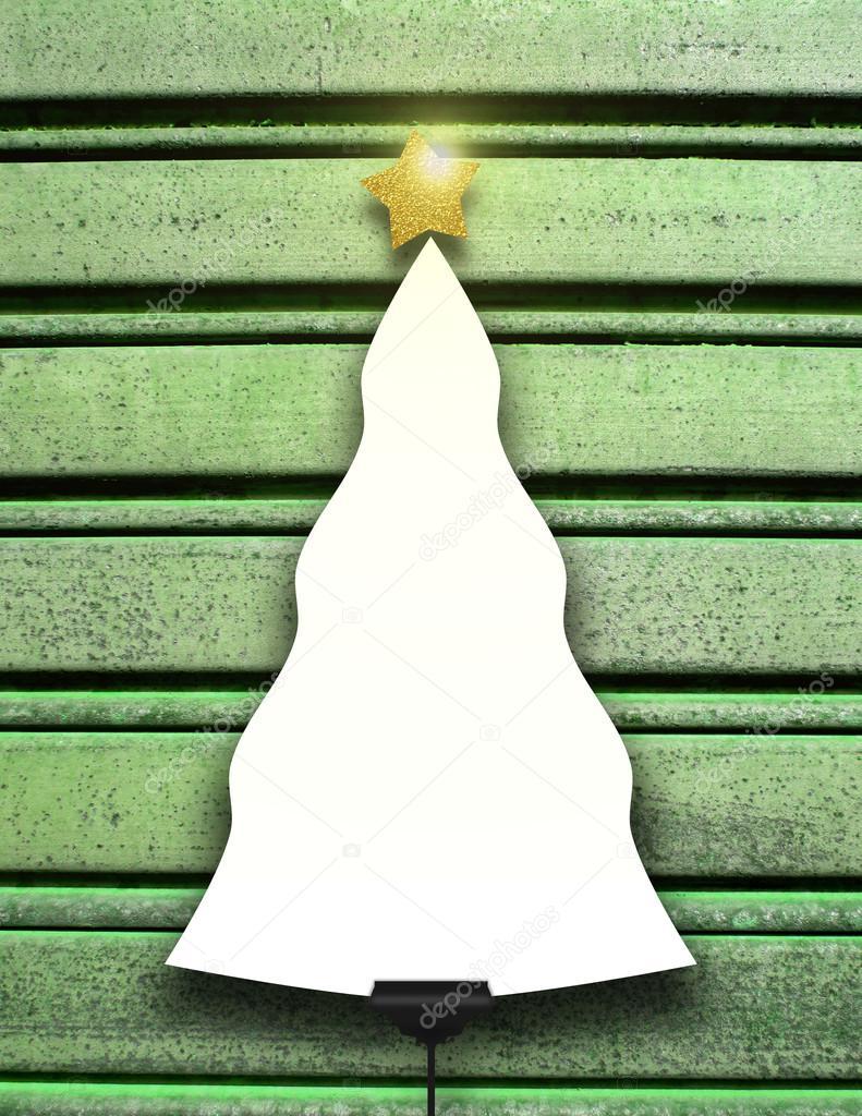 Solo ahorcado marco en forma de árbol de Navidad con estrella en ...