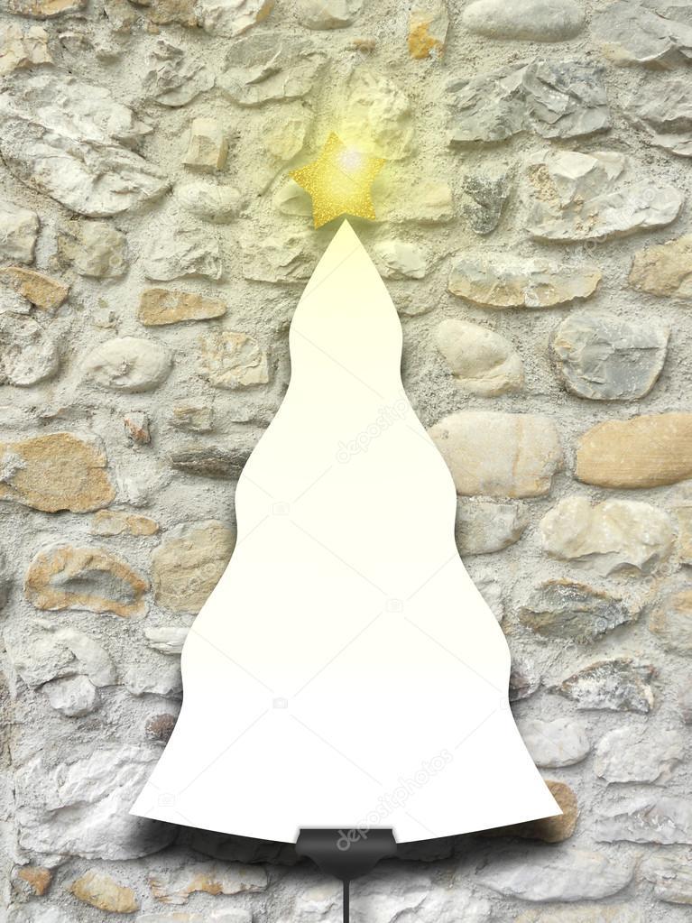 Único árbol de Navidad con forma de marco a la estrella encendido ...