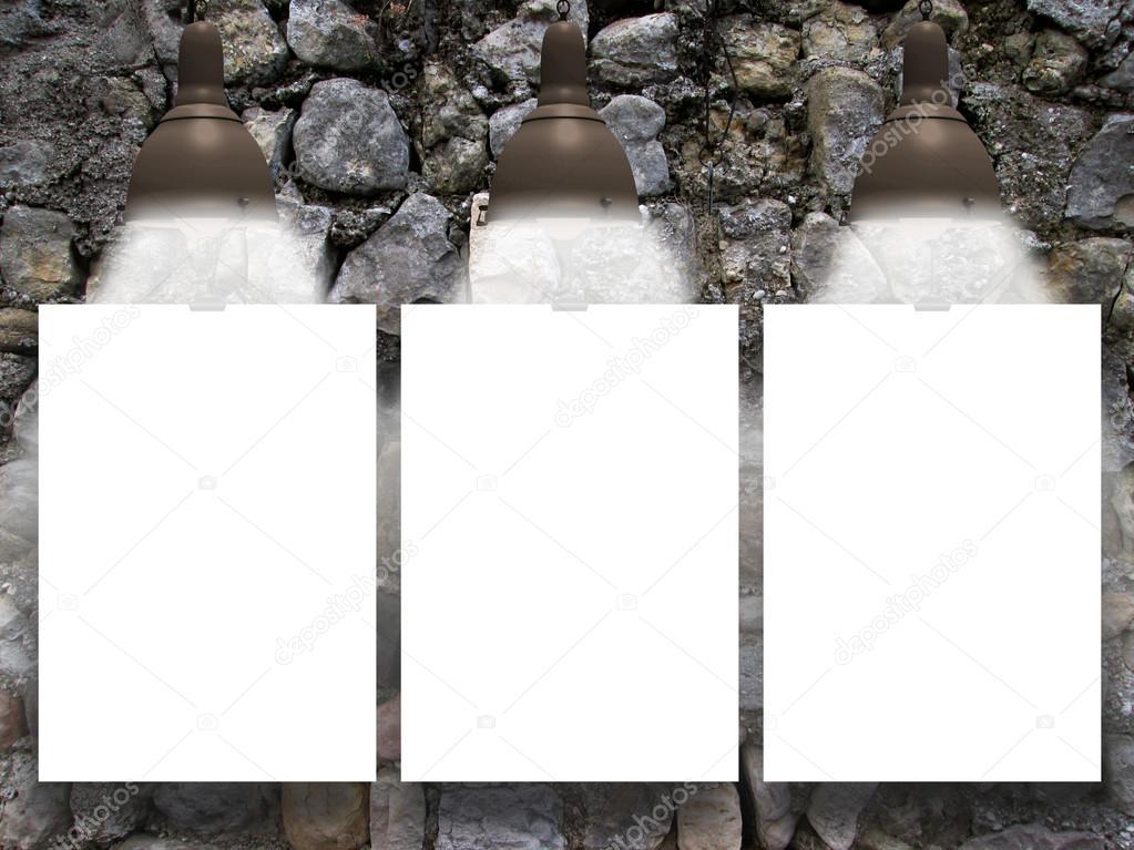 Drei Erhängten Papierbogen Mit Lampen Auf Mittelalterliche Stein Wand Hintergrund  U2014 Foto Von AlessandroMassimiliano