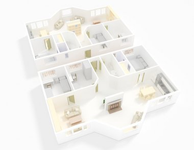 3d interior rendering of double apartment with white walls surrounding