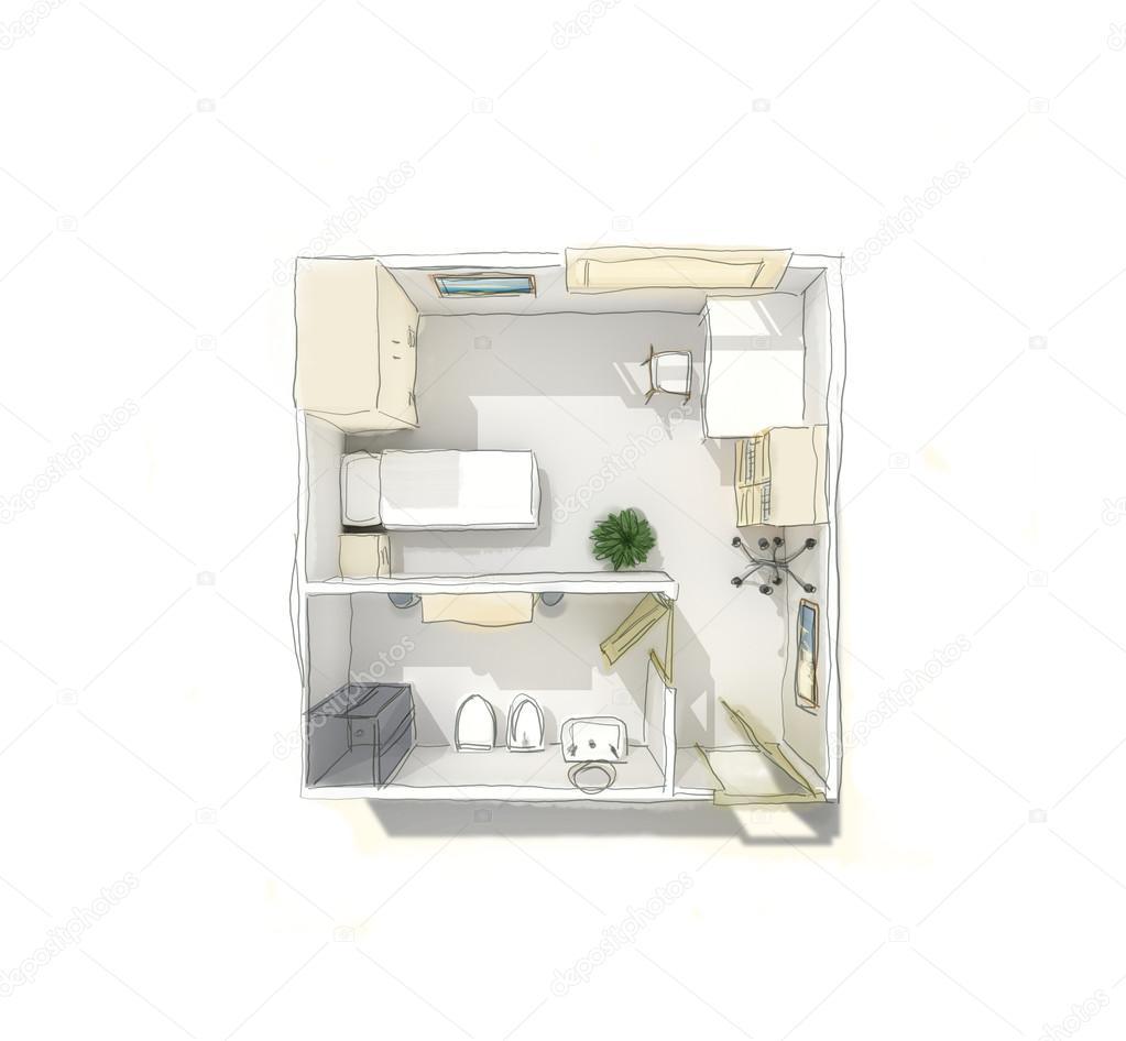 Szabadkézi rajz a szállodai szoba — Stock Fotó ...