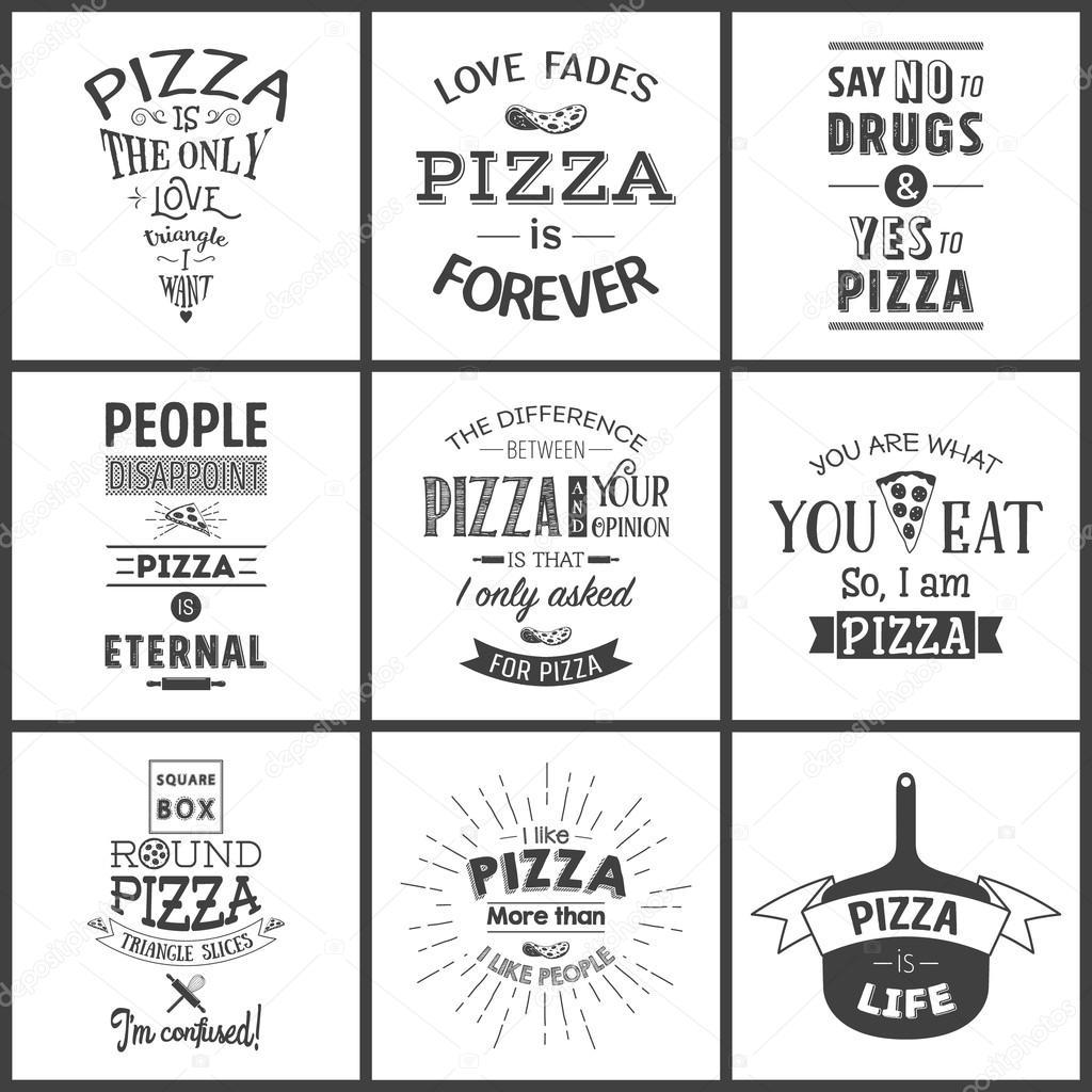 Set Of Vintage Pizza Typographic Quotes Stock Vector