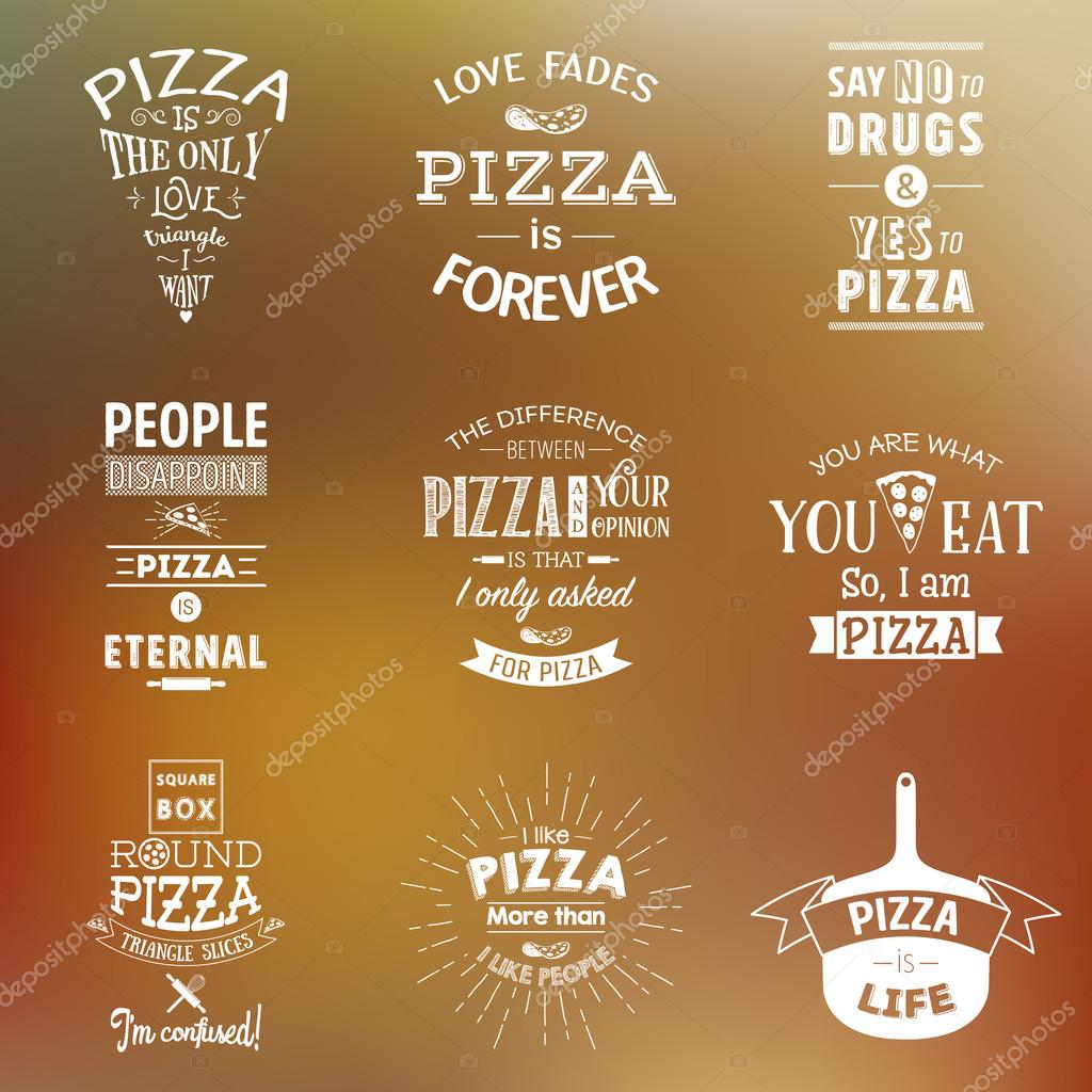 Set Of Vintage Pizza Typographic Quotes Stock Vector