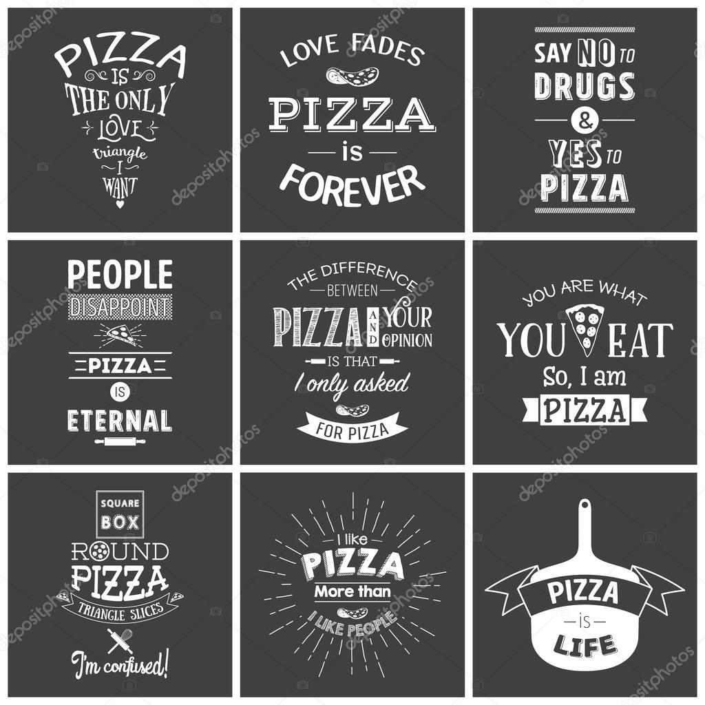 Set of vintage pizza typographic quotes — Stock Vector ...