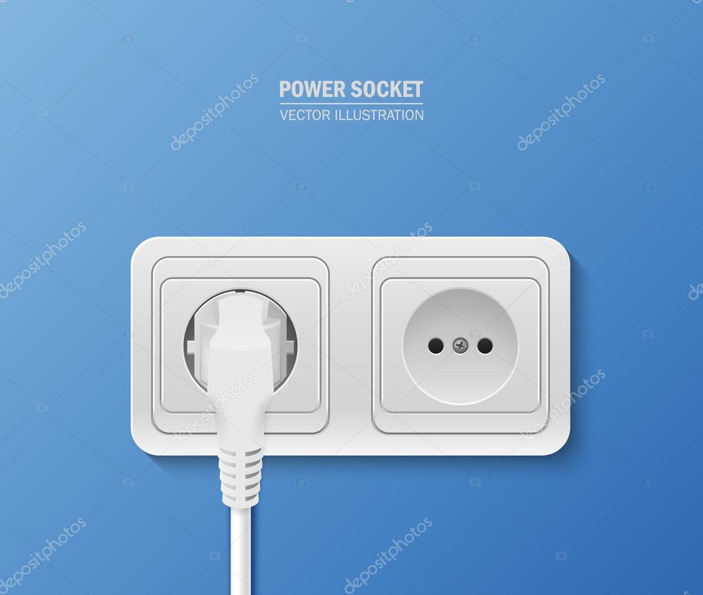 steckdose mit kabel angeschlossen — stockvektor © gomolach #105366506