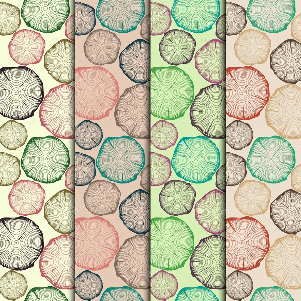 Vector set of seamless patterns with tree rings.