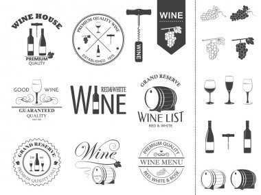 Vector wine labels and icons set.
