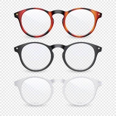 Vector 3d Realistic Plastic Brown Leopard, Black, White Rimmed Eye Glasses Closeup Isolated on Transparent Background. Women, Men, Unisex Accessory. Optics, Health Concept. Design Template, Mockup
