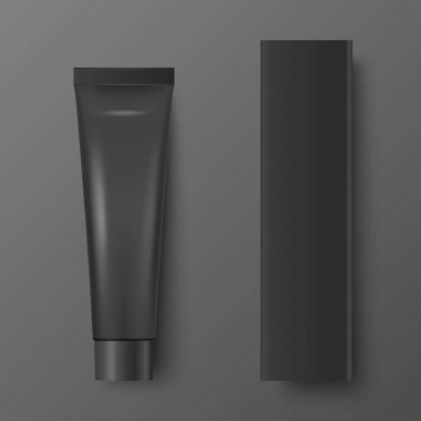 Vector 3d Realistic Plastic, Metal Black Tooth Paste, Cream Tube, Carton Packing Isolated on Black Background. Design Template of Toothpaste, Cosmetics, Cream, Tooth Paste for Mockup. Top View. icon