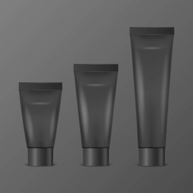 Vector 3d Realistic Plastic, Metal Black Tooth Paste, Cream Tube, Packing Set Isolated on Black Background. Design Template of Toothpaste, Cosmetics, Cream, Tooth Paste for Mockup. Front View. icon