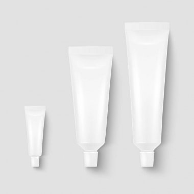 Vector 3d Realistic Plastic, Metal White Tooth Paste, Cream Tube, Packing Set Isolated on White Background. Design Template of Toothpaste, Cosmetics, Cream, Tooth Paste for Mockup. Top View. icon