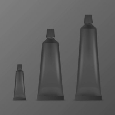 Vector 3d Realistic Plastic, Metal Black Tooth Paste, Cream Tube, Packing Set Isolated on Black Background. Design Template of Toothpaste, Cosmetics, Cream, Tooth Paste for Mockup. Top or Front View. icon