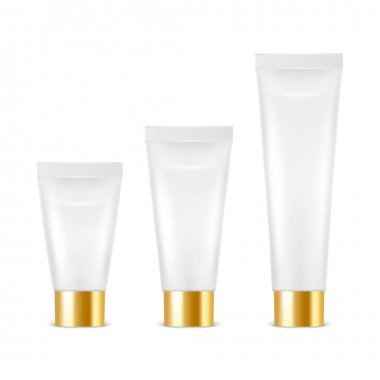 Vector 3d Realistic Plastic, Metal White Tooth Paste, Cream Tube, Packing with Golden Cap Set Isolated on White Background. Design Template of Toothpaste, Cosmetics, Cream for Mockup. Front View. icon