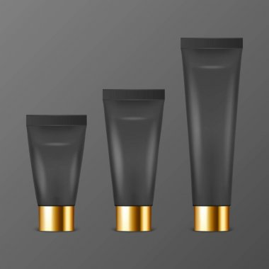 Vector 3d Realistic Plastic, Metal Black Tooth Paste, Cream Tube, Packing with Golden Cap Set Isolated on Black Background. Design Template of Toothpaste, Cosmetics, Cream for Mockup. Front View. icon
