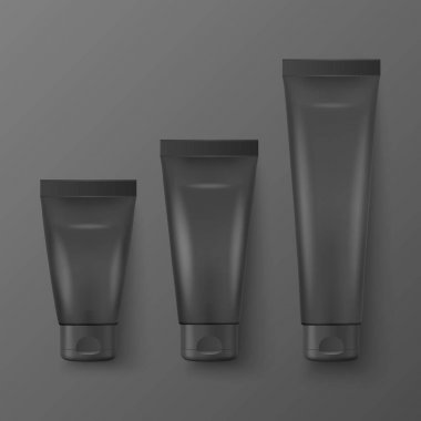 Vector 3d Realistic Plastic, Metal Black Tooth Paste, Cream Tube, Packing Set Isolated on Black Background. Design Template of Toothpaste, Cosmetics, Cream, Tooth Paste for Mockup. Top View. icon