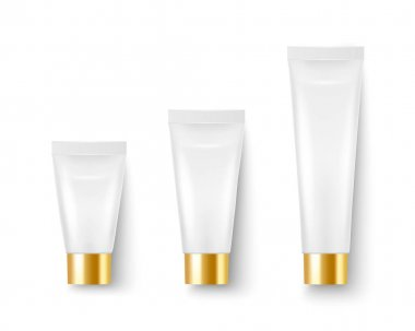 Vector 3d Realistic Plastic, Metal White Tooth Paste, Cream Tube, Packing, Golden Cap Set Isolated on White. Design Template of Toothpaste, Cosmetics, Cream, Tooth Paste for Mockup. Top View. icon