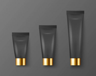 Vector 3d Realistic Plastic, Metal Black Tooth Paste, Cream Tube, Packing, Golden Cap Set Isolated on Black. Design Template of Toothpaste, Cosmetics, Cream, Tooth Paste for Mockup. Top View. icon