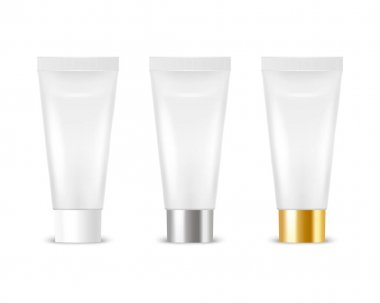 Vector 3d Realistic Plastic, Metal White Tooth Paste, Cream Tube, Packing Set Isolated on White Background. Design Template of Toothpaste, Cosmetics, Cream, Tooth Paste for Mockup. Front View. icon