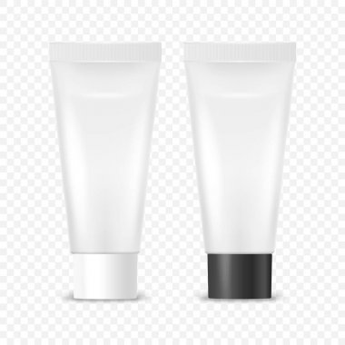 Vector 3d Realistic Plastic, Metal White Tooth Paste, Cream Tube, Packing with White and Black Cap Set Isolated. Design Template of Toothpaste, Cosmetics, Cream, Tooth Paste for Mockup. Front View. icon