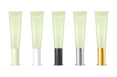 Vector 3d Realistic Plastic, Metal Green Lip Balm, Lipstick, Cream Tube, Packing Set Isolated on White Background. Design Template of Toothpaste, Cosmetics, Cream, Tooth Paste for Mockup. Front View. icon