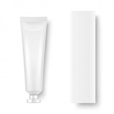 Vector 3d Realistic Plastic, Metal White Tooth Paste, Cream Tube, Carton Packing Isolated on White Background. Design Template of Toothpaste, Cosmetics, Cream, Tooth Paste for Mockup. Top View. icon
