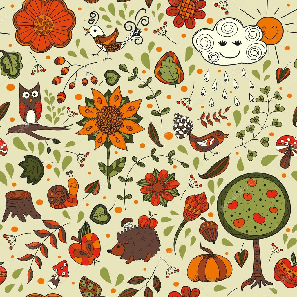 Cute autumn seamless pattern