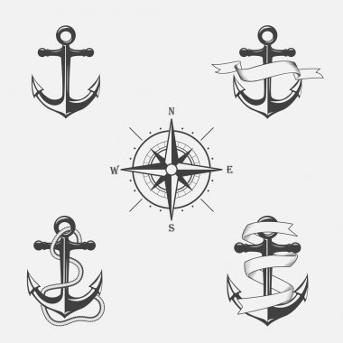 Set of vintage patterns on nautical theme. Icons and design elements.