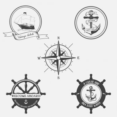 Set of vintage pattern on nautical theme. Icons, labels and design elements.