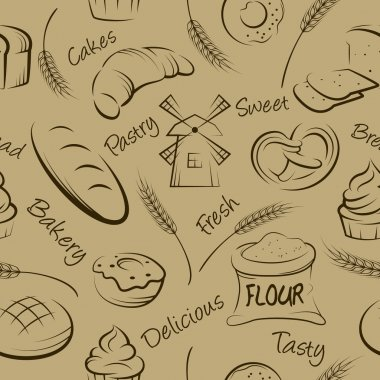 Vector hand drawn pastries seamless pattern.