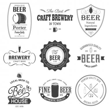 Retro set styled label of beer.