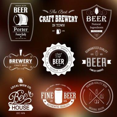 Set of black monochrome beer labels
