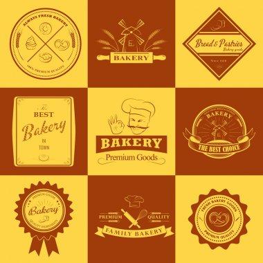 Set of vintage bakery labels, badges and design elements