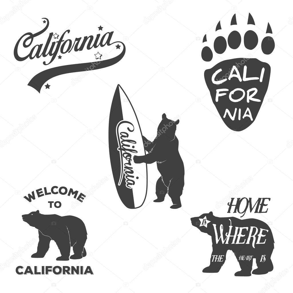 Shirt design elements - Vintage Monochrome California Badges And Design Elements For T Shirt Print Typography Illustrations