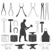 Photo Set of vintage blacksmith icons and design elements