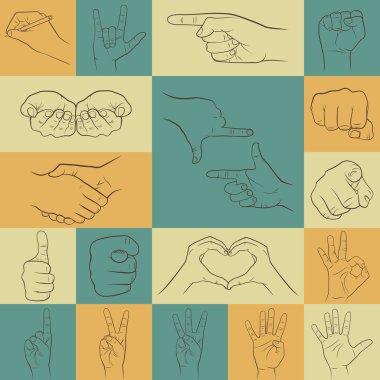 Set of hands icons in different interpretations.  Vector illustration. stock vector
